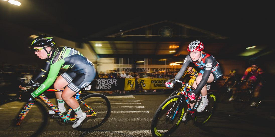 Hayley Edwards of the Stanridge Speed team surfing the front of the Red Hook Crit Brooklyn